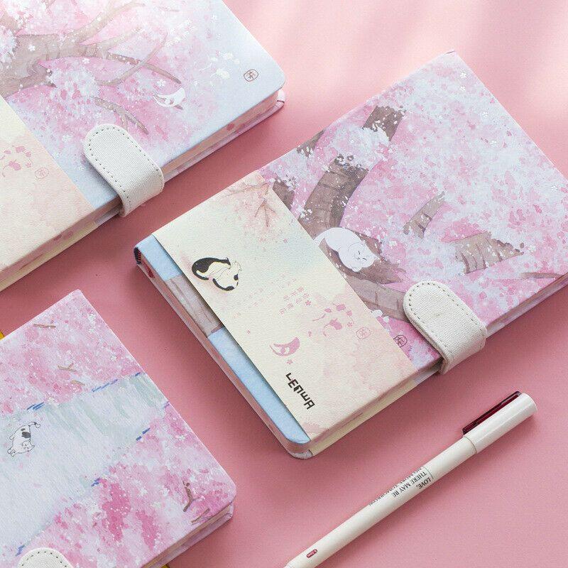Sakura Cat Ver 2 1pc Journal Diary Cute Lined Planner Hard Cover