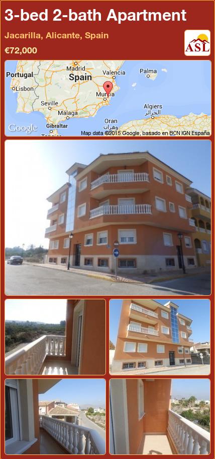 3-bed 2-bath Apartment in Jacarilla, Alicante, Spain ►€72,000 #PropertyForSaleInSpain