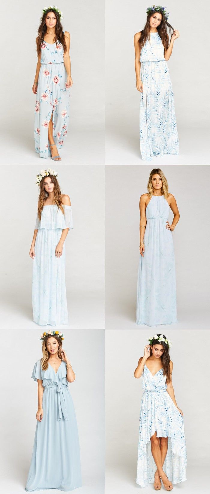 Light blue mix and match bridesmaid dresses modern lights and wedding