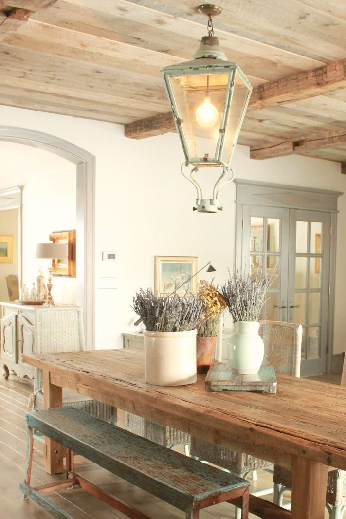 French Country Decor In Dining Room With Rustic Farm Table Aqua Lavender And Provence Accents
