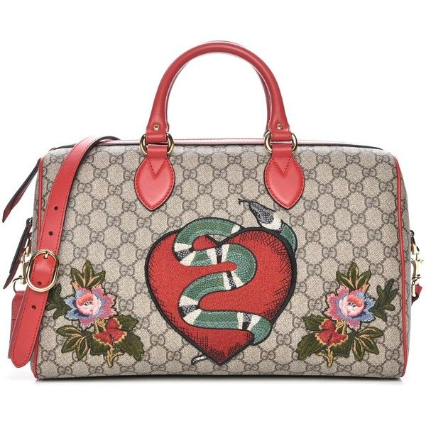 c9a419420c5 GUCCI GG Supreme Monogram Snake Heart Embroidered Medium Soft Tote... ❤  liked on Polyvore featuring bags