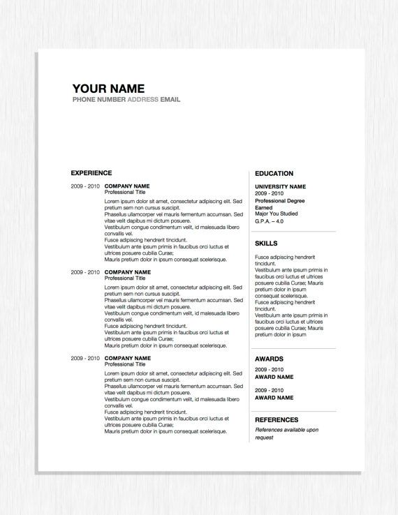 Professional Resume Design Word Template with Cover Letter Career - Cover Letter Word Templates