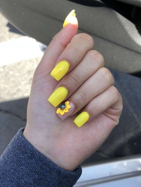 61 Trendy Yellow Nail Designs 2019 Yellow Nails Design