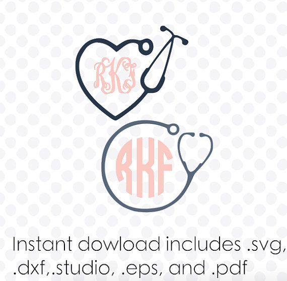 Stethoscope monogram frame instant download zipped by designaroos