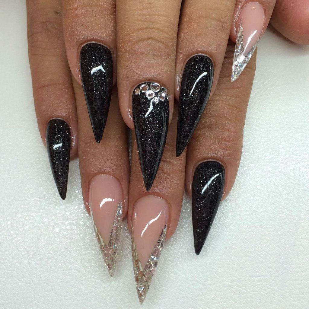 nail-art-diy-design-idea-black-granit-stiletto-winter ...