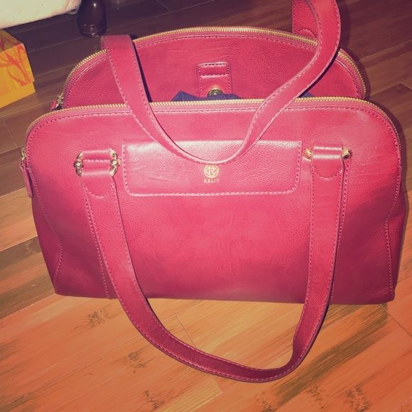 Red leather bag gold hardware Red leather bag gold hardware. In excellent cond. interior is super clean. Relic Bags