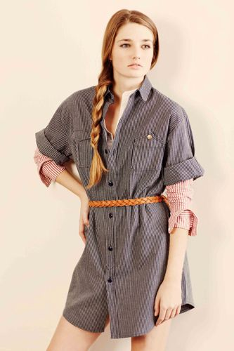 denim shirdress, brown belt, joe fresh button down. Hair up, hoop or gold earrings