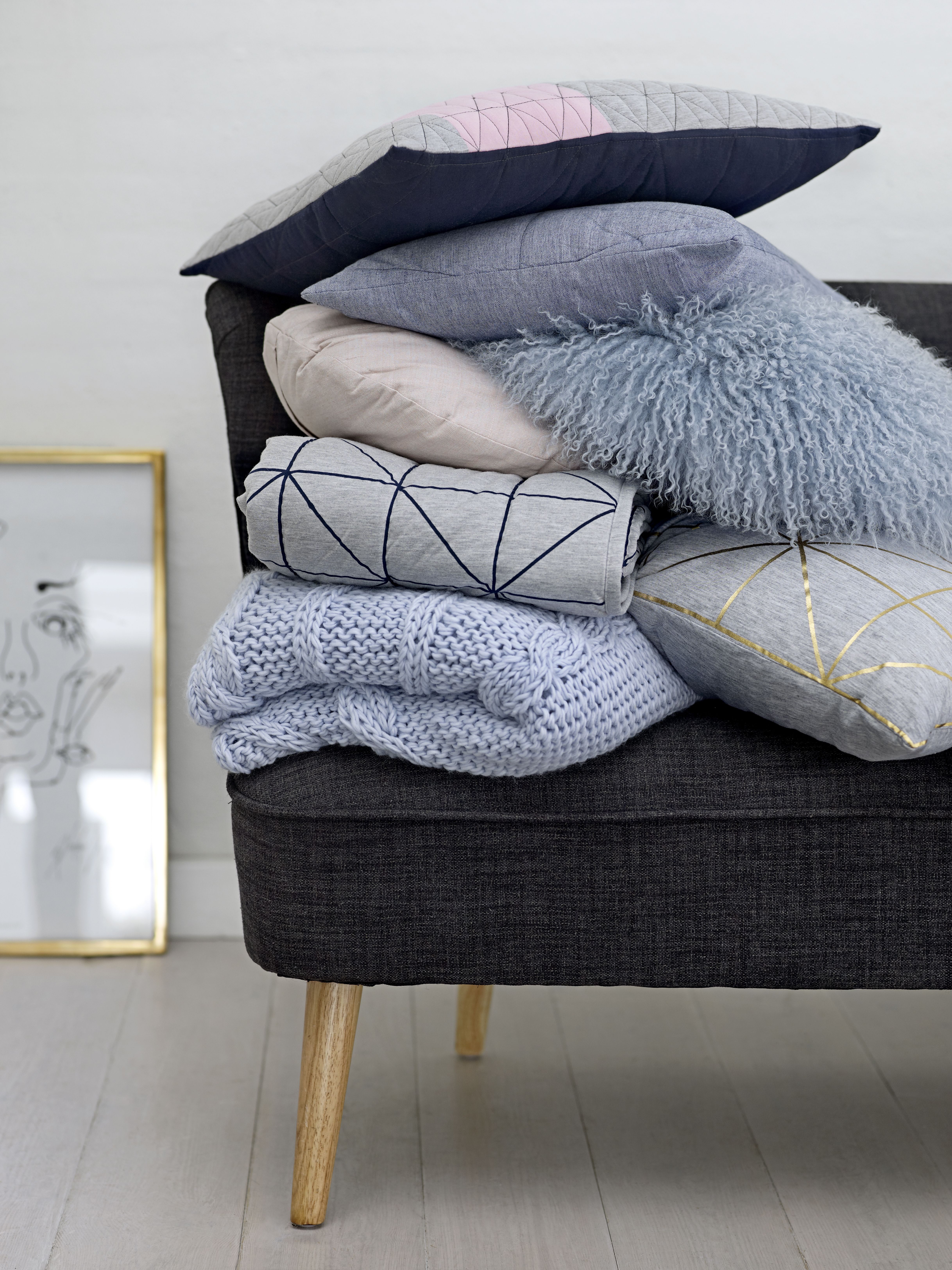 Com - Bloomingville, Cushions, Knitted Throw, Baby Blue Home Accessories,