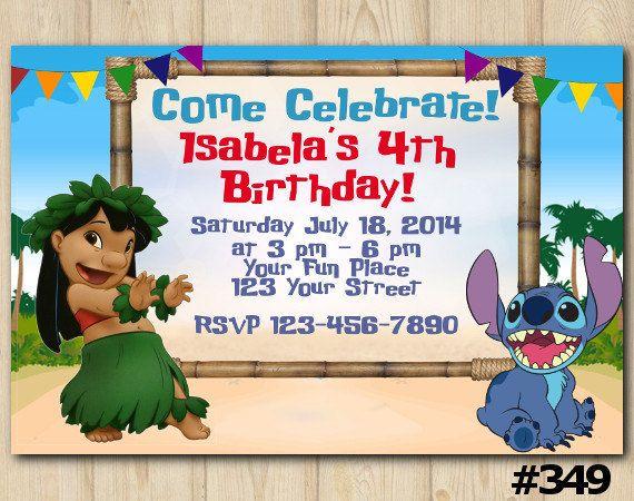 db797ca3d LILO and STITCH Birthday INVITATION #liloandstitch #birthdayparty  #birthdayinvites #disney #birthdayinvitation #birthdayparty #minniemouse  #luau #summer ...