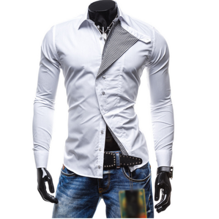 Turn-Down Collar Checked Lining Short Sleeve Shirt For Men