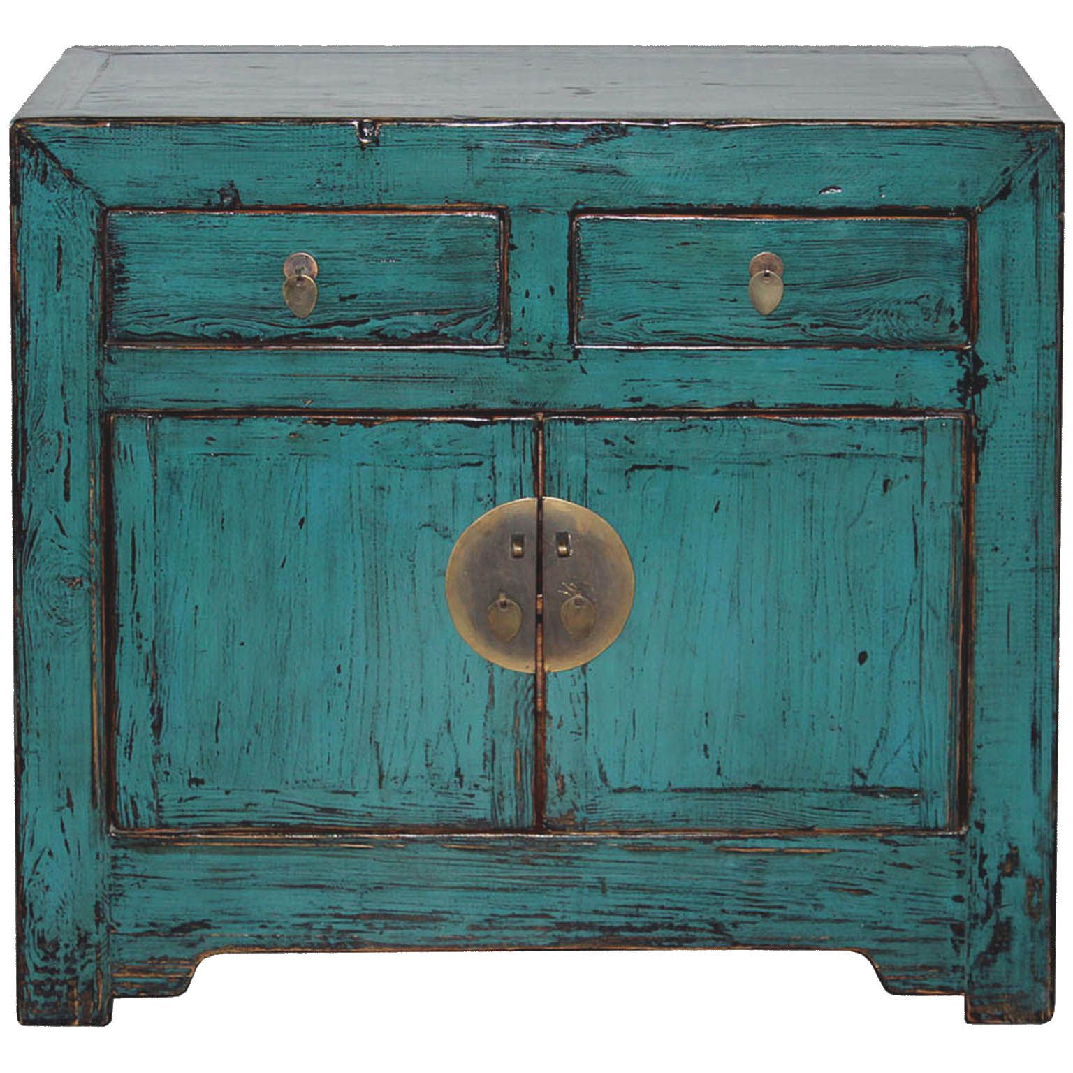 Need A Bedside Table This Chinese 2 Drawer Blue Side Chest