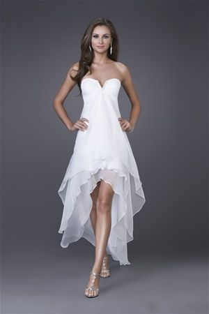 caf1c890e79a High-Low Robe Col En Chiffon Asymetrique Blanche : Perfect Strapless High-low  White Prom Dress ...