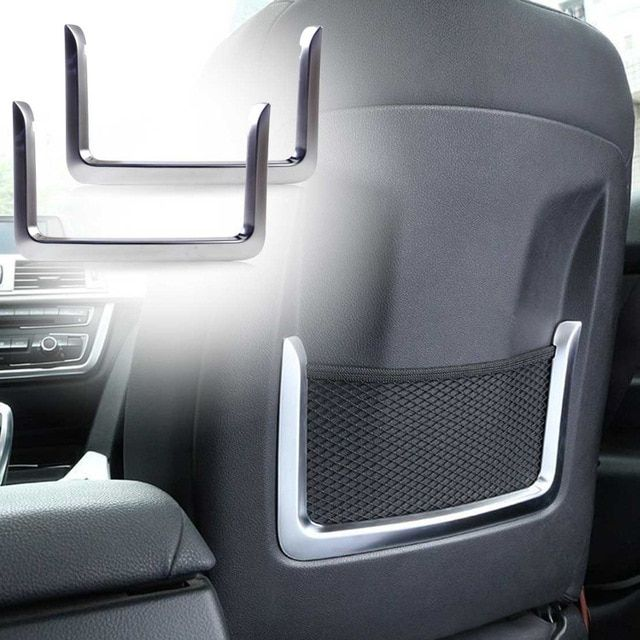 Beler 2Pcs Chrome Plated Seat Back Rear Net Cover Trim Fit