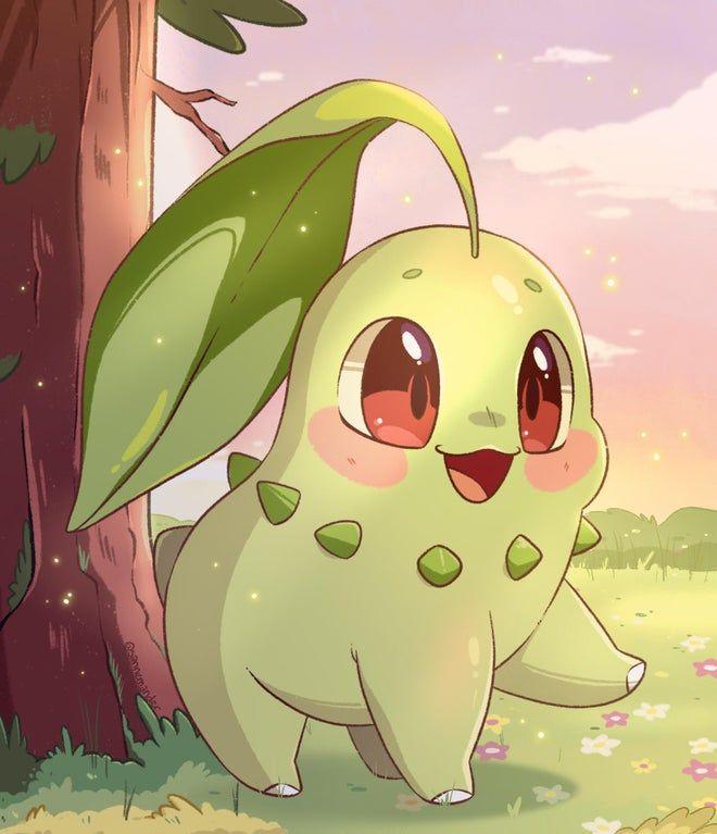 Chikorita does a big steppy! [OC] : pokemon