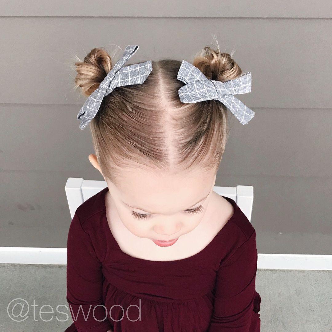 High Pigtails Buns On Short Hair Lushairdos Qshairdos Toddler Hair Toddler Hairstyles Girl Pigtail Buns