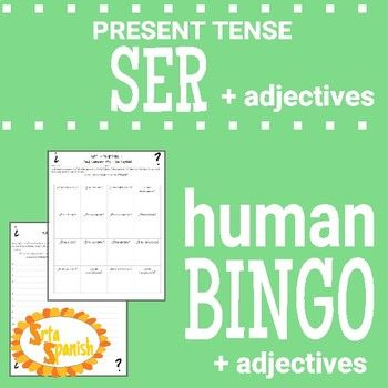 Ser and Adjectives Speaking Activity Sentences, Spanish and Activities - student sign in sheet