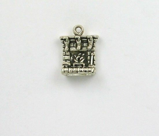 925 Sterling Silver, Hearth with Stockings Charm, Holiday & Christmas Theme  | eBay
