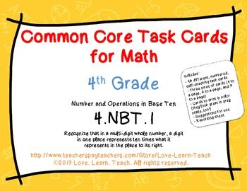 Set of 48 self-checking task cards - Common Core 4.NBT.1 - Place Value - three sizes $