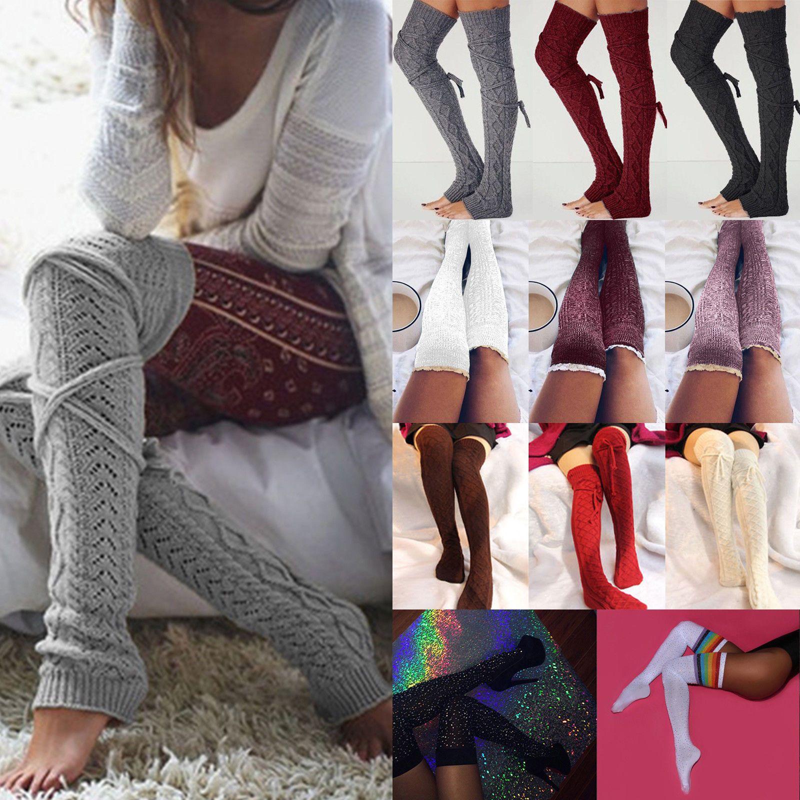 US STOCK HOT Women Crochet Knitted stocking Leg Warmers Boot Cover Legging Socks
