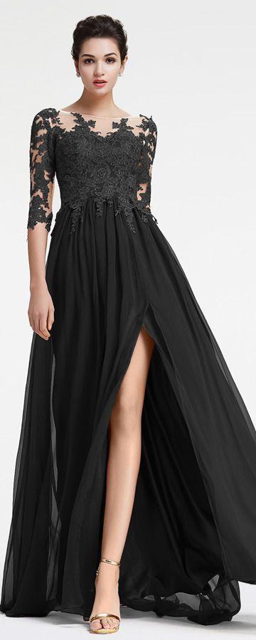 Black Prom Dresses Long Sleeves Modest Prom Dresses With Slit