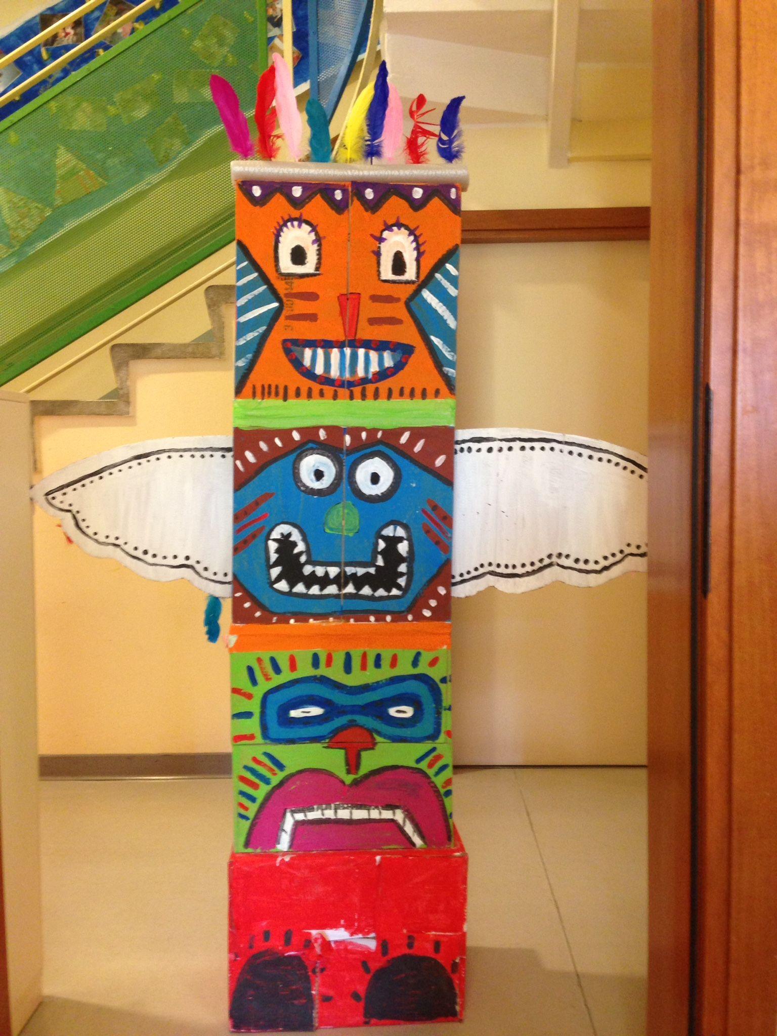 Totem indiano con cartone fai da te pinterest - Totem palo modelli per bambini ...
