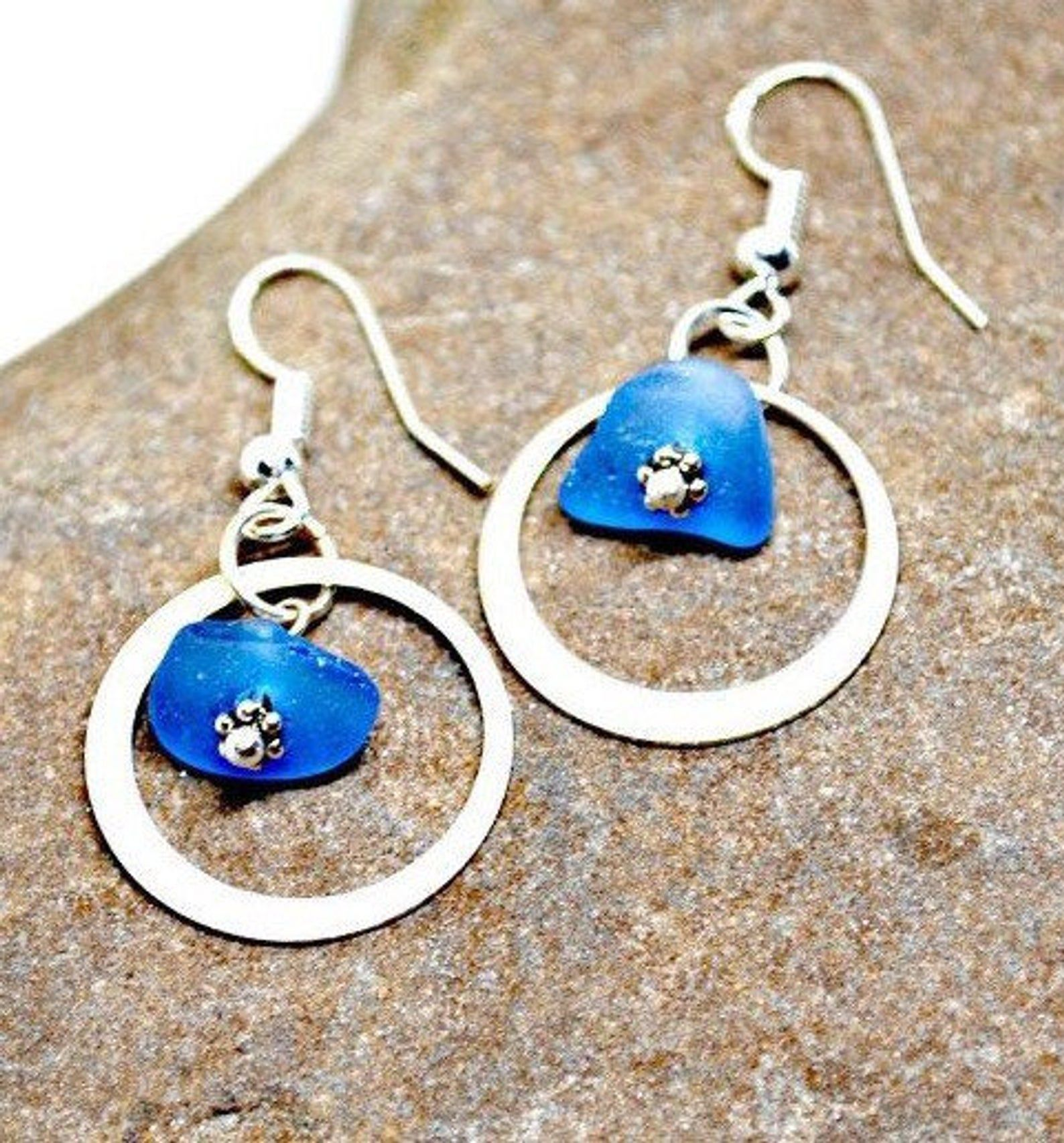 Beach Jewelry Beach Glass Earrings Beach Glass Jewelry Sea Glass Jewelry Beach Lovers Gift Blue Beach Earrings Blue Sea Glass Earrings