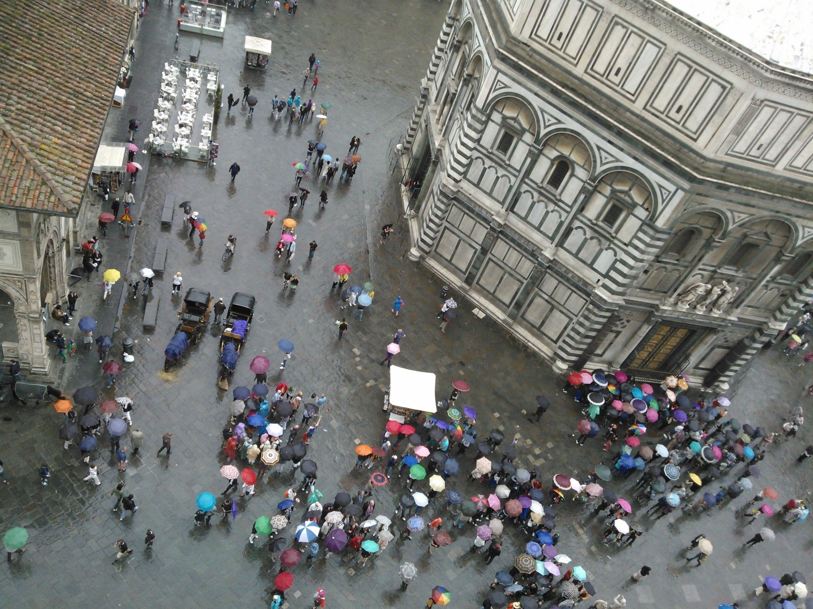 Looking down from the Duomo Bell Tower, Florence, Italy