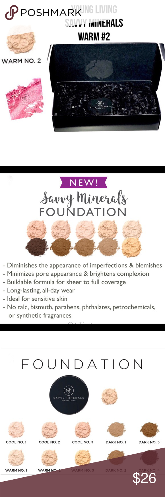 NIB Young Living Savvy Minerals Warm 2 Foundation This