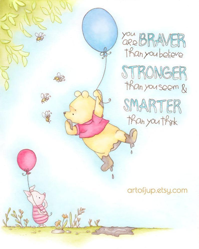 Winnie The Pooh Art Print Quote Winnie The Pooh Nursery Etsy