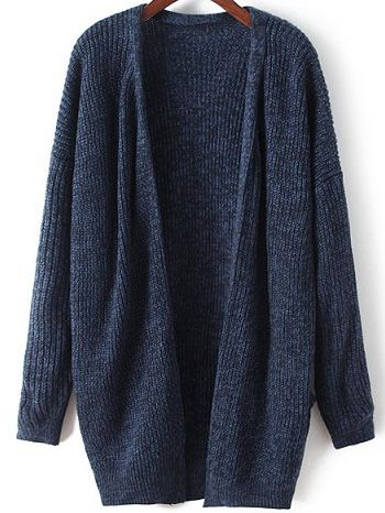 Shop Navy Long Sleeve Loose Knit Cardigan online. SheIn offers Navy Long  Sleeve Loose Knit Cardigan   more to fit your fashionable needs. 8cb420634