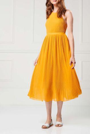 Buy Ochre Pleated Maxi Dress from the Next UK online shop  029fa497e