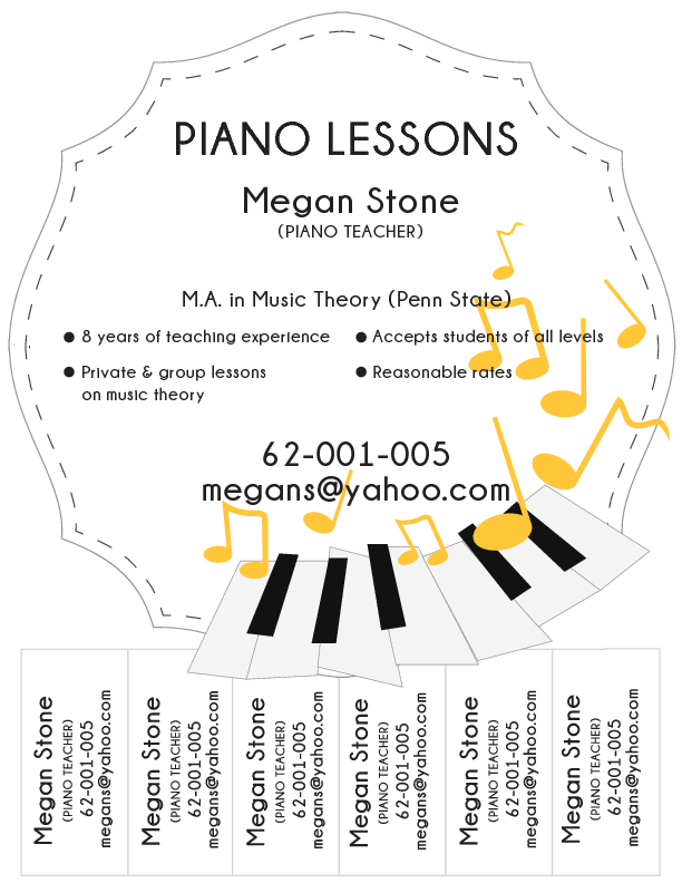 sample piano lesson flyer