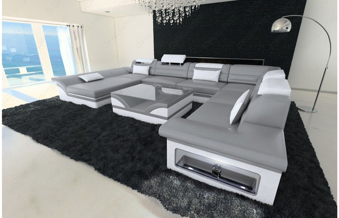 wohnlandschaft enzo xxl in grau wei exklusive designer m bel von sofa dreams wohnlandschaft. Black Bedroom Furniture Sets. Home Design Ideas