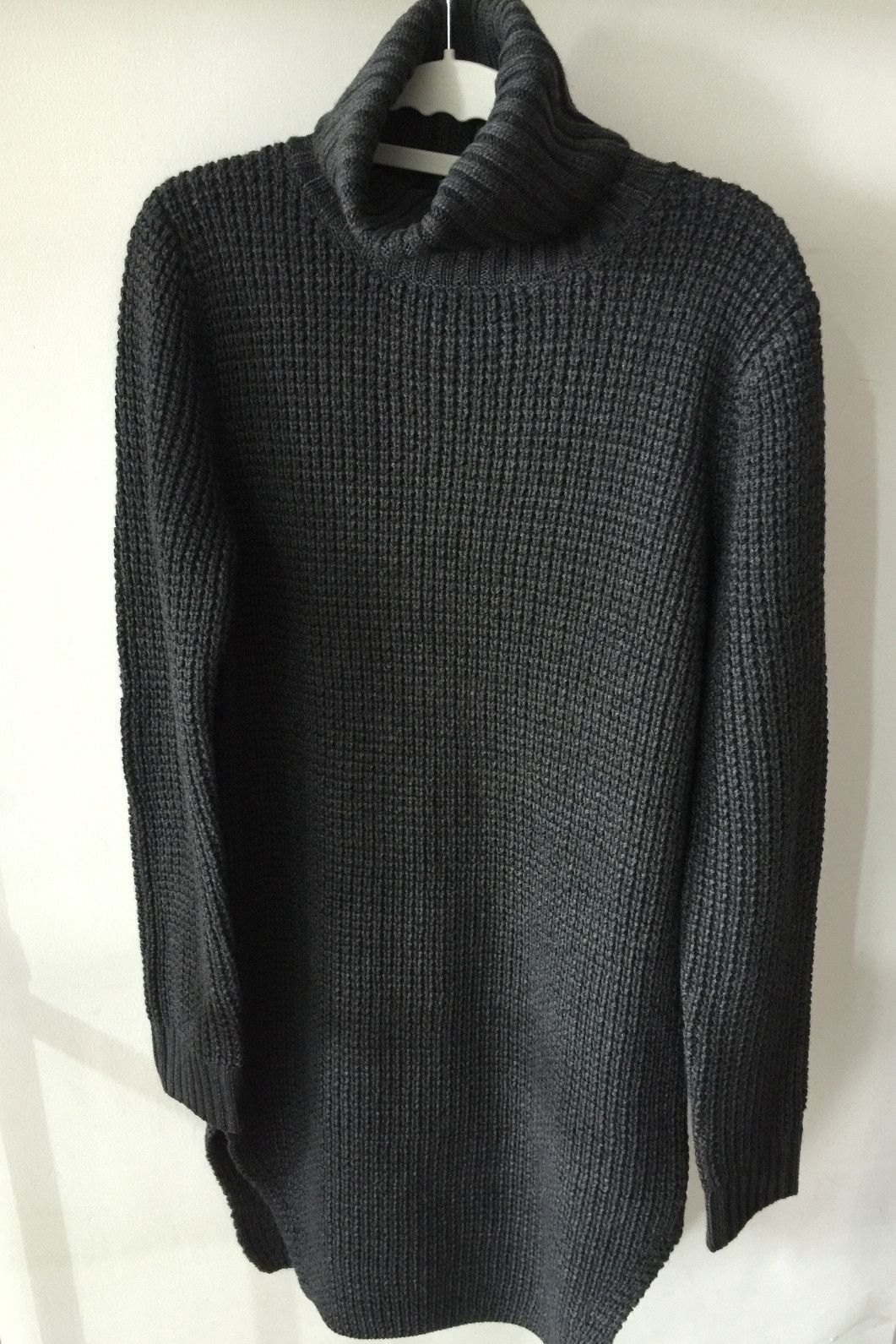 Dark Gray Oversized Long Turtleneck Sweater | CLOTHES WANT ...