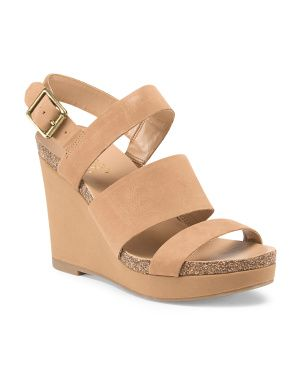 Leather Fiona Thick Straps Wedge