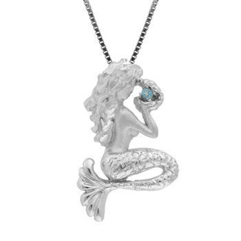 Sterling Silver and Blue Topaz Mermaid Necklace Pendant with Box Chain on  Wanelo b2581317d