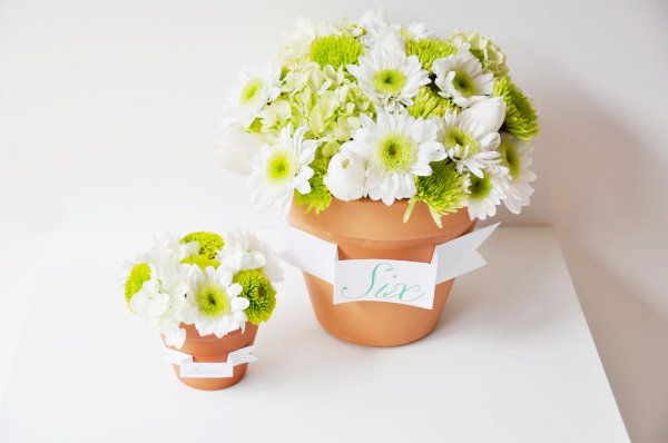 DIY: Flower Pot Favors and Centerpieces via Project Wedding