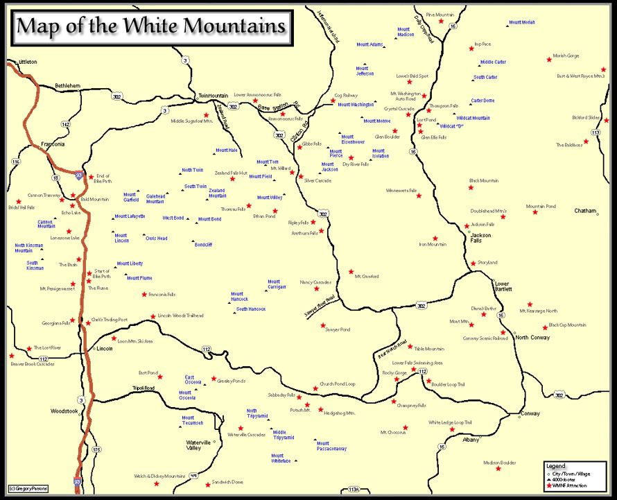 4000 Footers Nh Map Map of the New Hampshire 4000 footers w/ view ratings | Take A