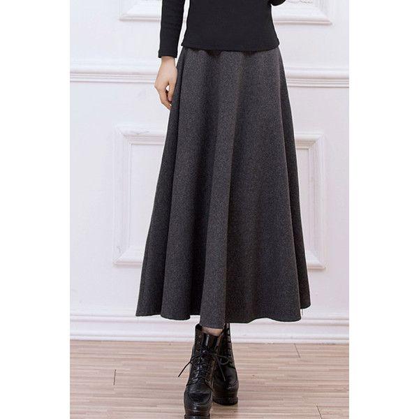 Gray High Waist Vintage Maxi Skirt ($27) ❤ liked on Polyvore ...