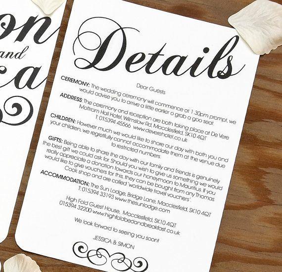 Image Result For Wedding Invitation Detail Card Insert