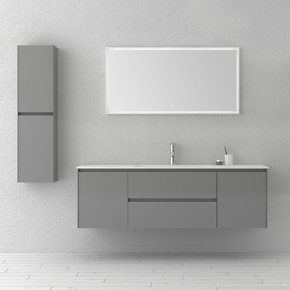 63 inch Single WallMounted Modern Grey Bathroom
