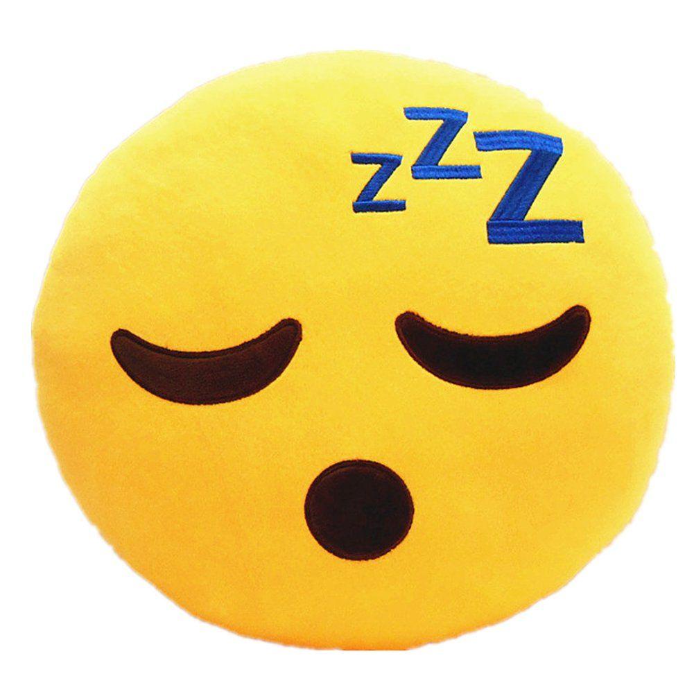 LI&HI 32cm Emoji Smiley Emoticon Yellow Round Cushion