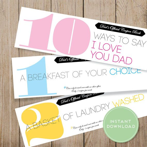 Father S Day Coupon Book Printable Dad Coupon By Jmunzdesign