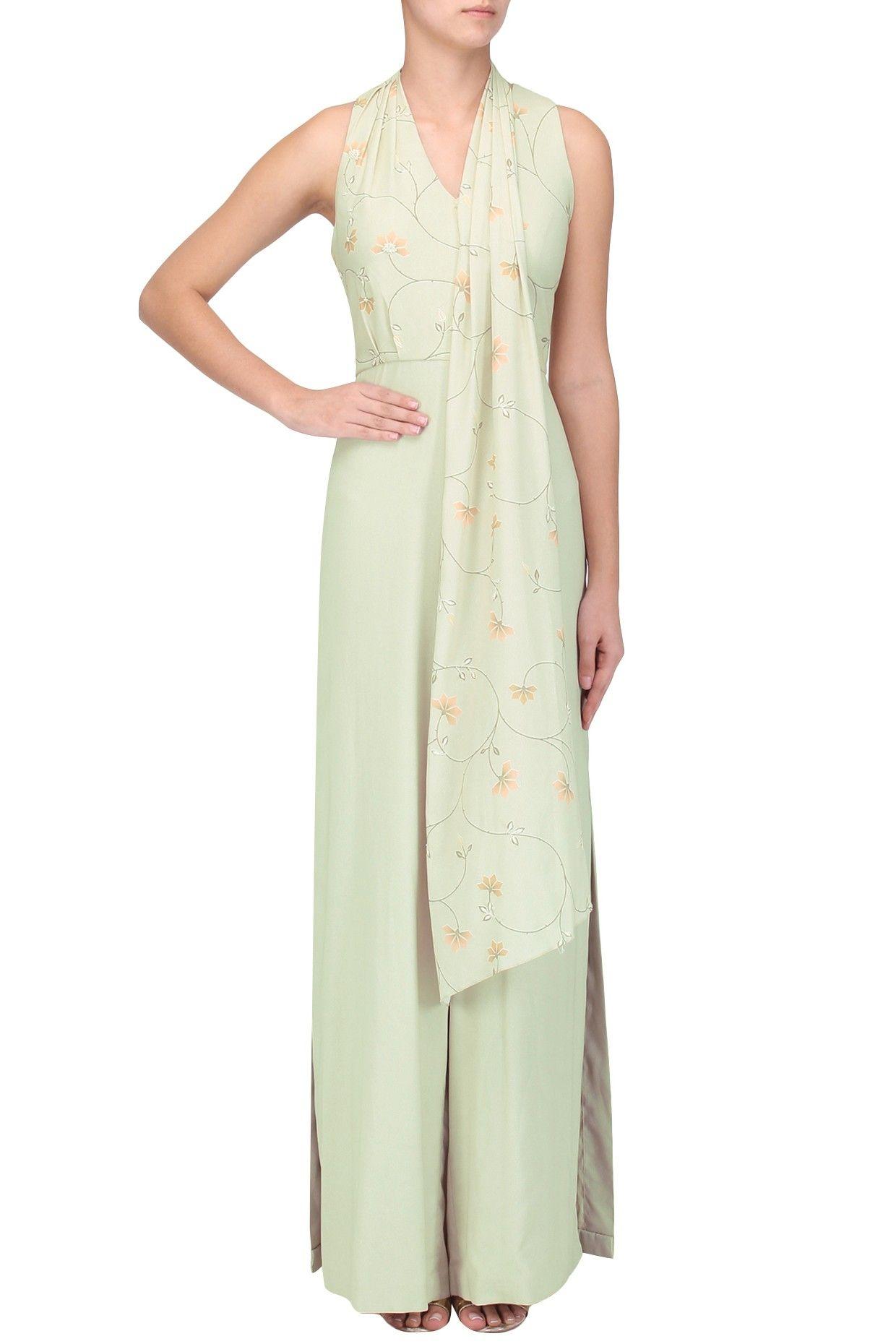 7c3cce2cd8 SANA BARREJA Mint green printed embellished draped jumpsuit. Shop now!   sanabarreja  mint  prints  embellishment  jumpsuits  green   indiandesigners ...
