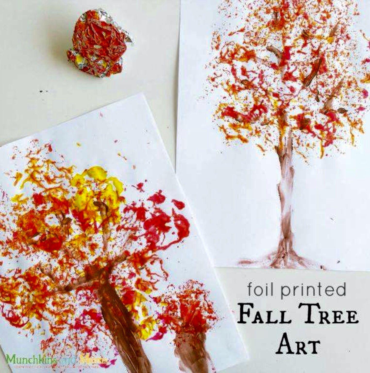 Quatang Gallery- Een Herfstboom Verven Met Een Prop Aluminiumfolie Boom Kunst Herfst Knutselen Herfst Bomen