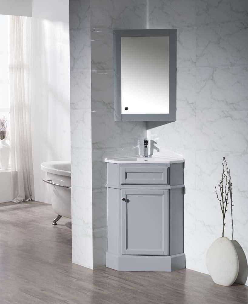 Photo of Stufurhome Hampton Grey 27 Inch Corner Bathroom Vanity with Medicine Cabinet