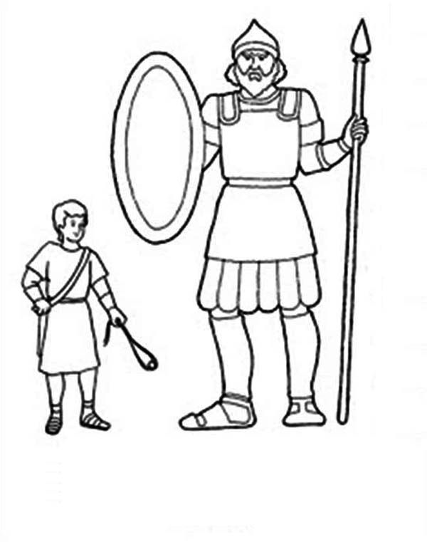 image result for david goliath colouring page kids church