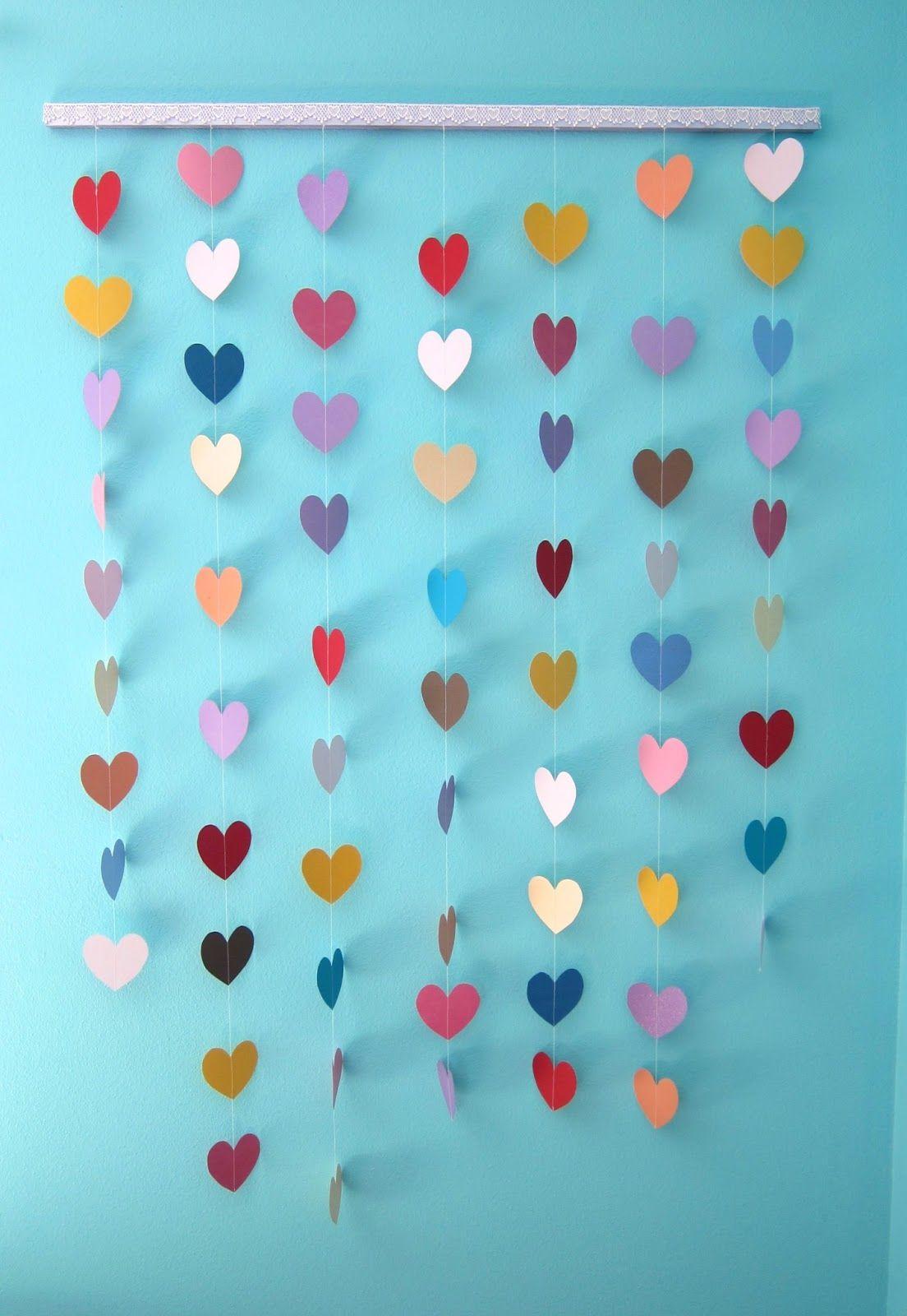 All Sorts Of Random Paper Heart Wall Hanging Tutorial Heart Wall Decor Paper Wall Hanging Paper Hearts