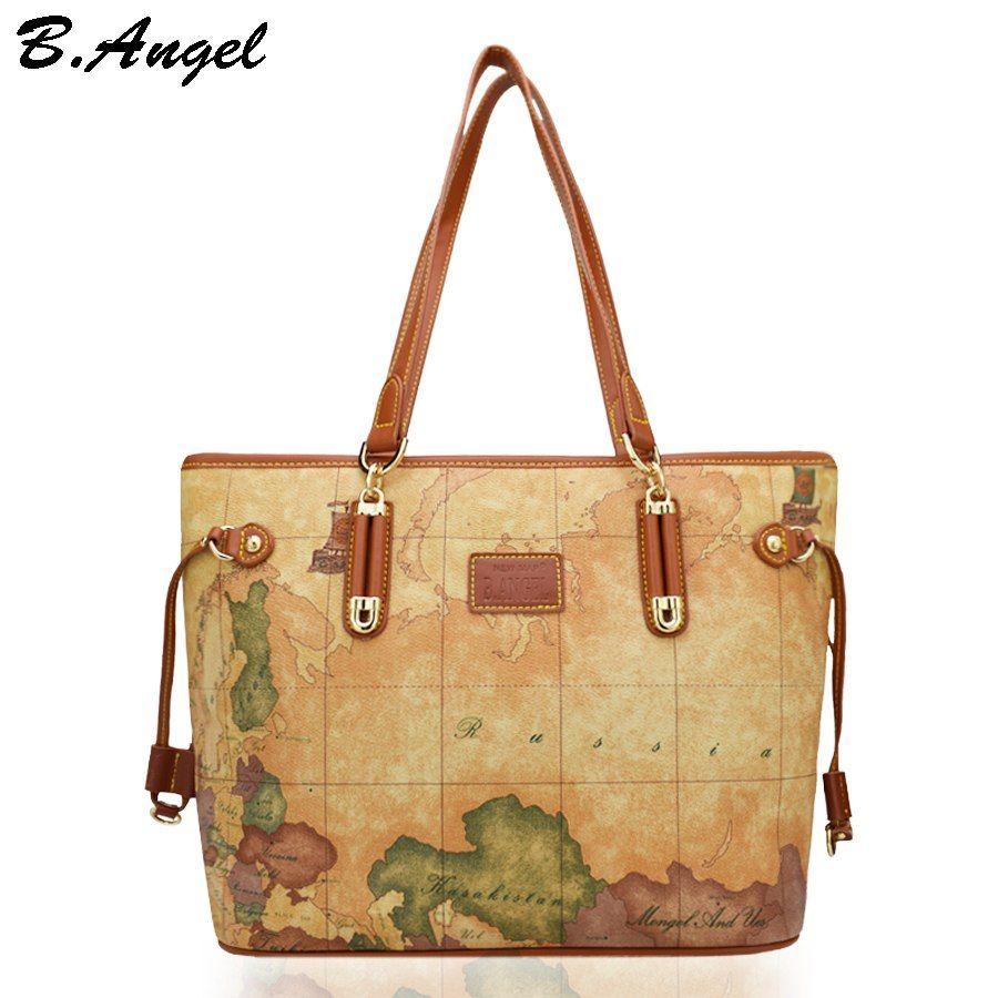 da7621ab583 Goedkope Vintage wereldkaart vrouwen tas luxe handtassen vrouwen tassen  designer vrouwen mode lederen handtassen dames schoudertas