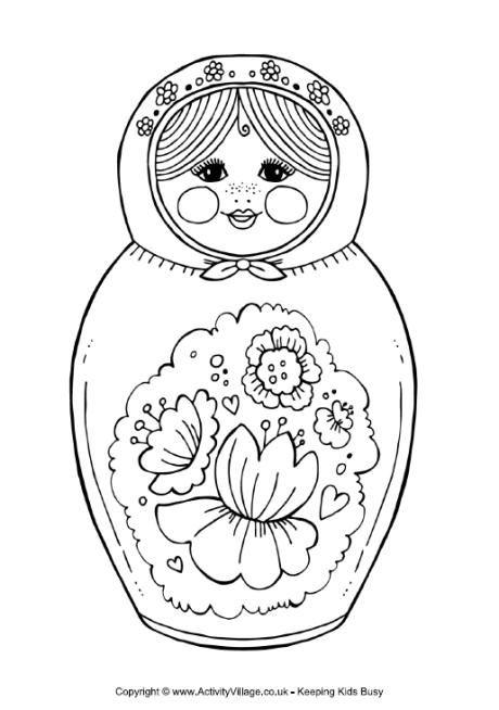 Matryoshka Doll Colouring Page 2 Matryoshka Doll Coloring Pages